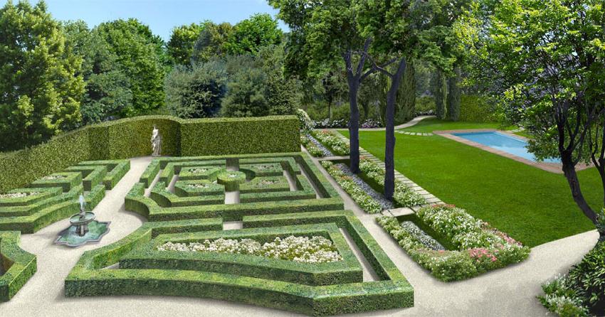 Giardino formale ad ornamento di villa padronale - Scale in giardino ...